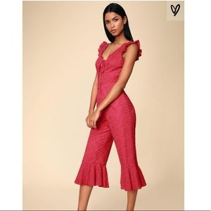 NWT Lulus Morning Glory Berry Red Lace-Up Jumpsuit